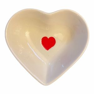 Heart Shaped Cream and Red Stoneware Trinket Dish